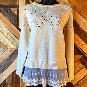 Monteau | Lace Flounce Sweater with Bow | S